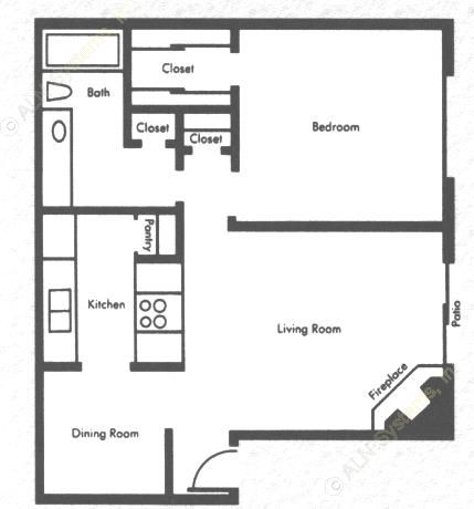 727 sq. ft. 1b1b floor plan