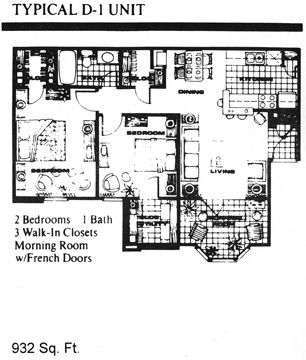 932 sq. ft. D1 floor plan