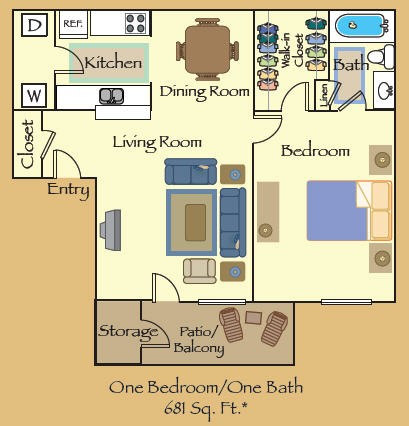 681 sq. ft. A2 floor plan