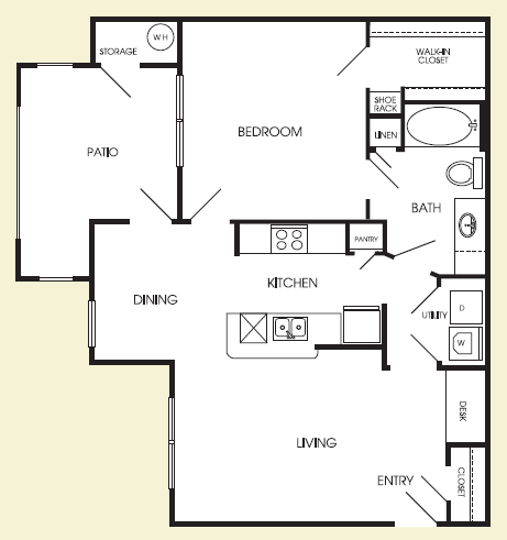 800 sq. ft. Broadway floor plan