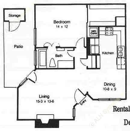 765 sq. ft. B floor plan