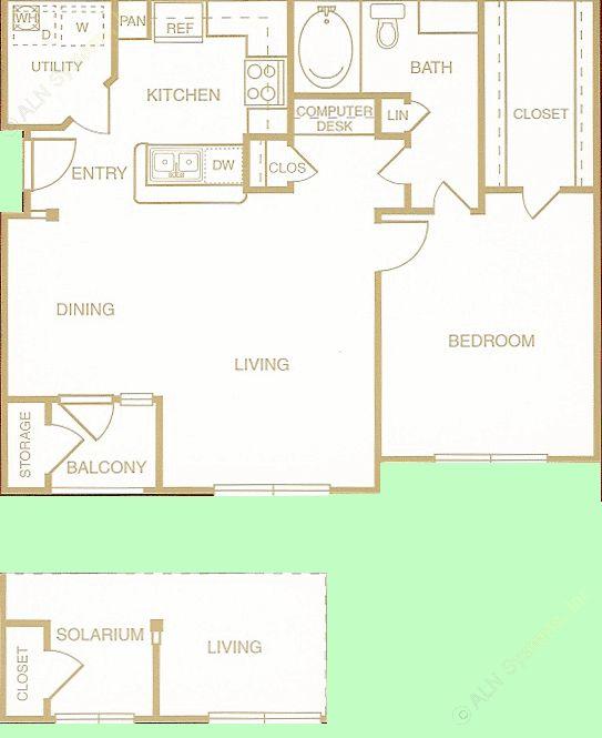 752 sq. ft. to 792 sq. ft. Festive floor plan