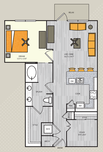 916 sq. ft. A11S.1 floor plan