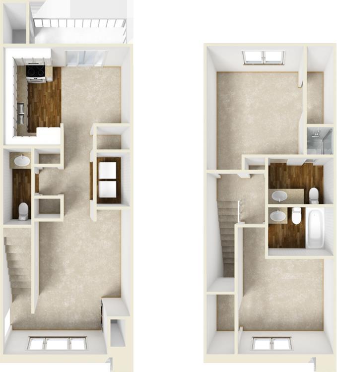 1,056 sq. ft. B4 floor plan