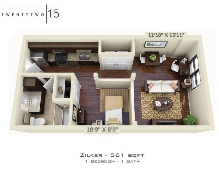 561 sq. ft. ZILKER floor plan