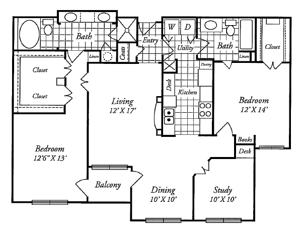 1,407 sq. ft. F floor plan