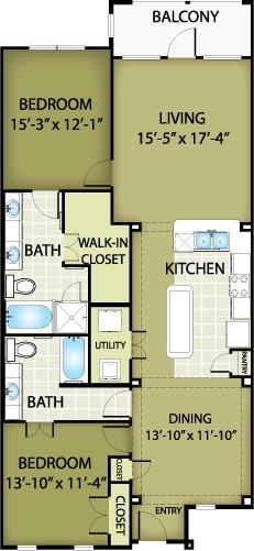 1,401 sq. ft. FENDI floor plan