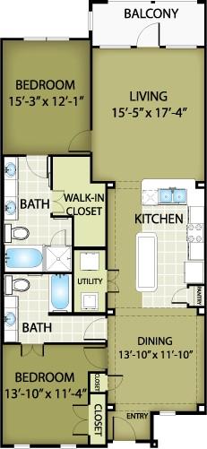 1,401 sq. ft. FENDI floor plan