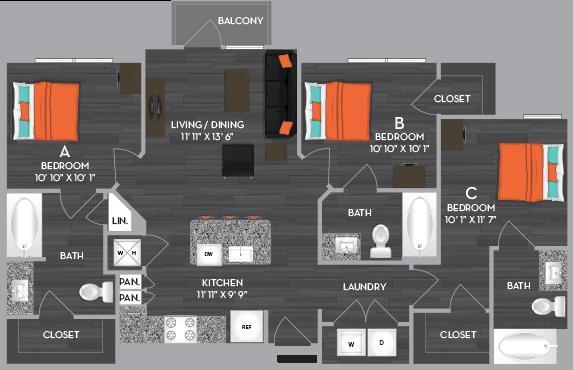 1,063 sq. ft. C1 floor plan