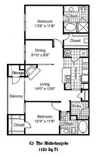1,124 sq. ft. C5 floor plan