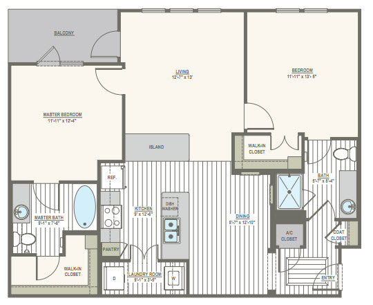 1,099 sq. ft. B1.A1 floor plan
