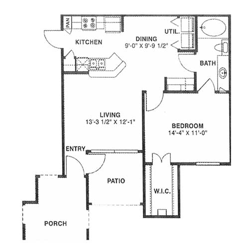 706 sq. ft. A 60% floor plan