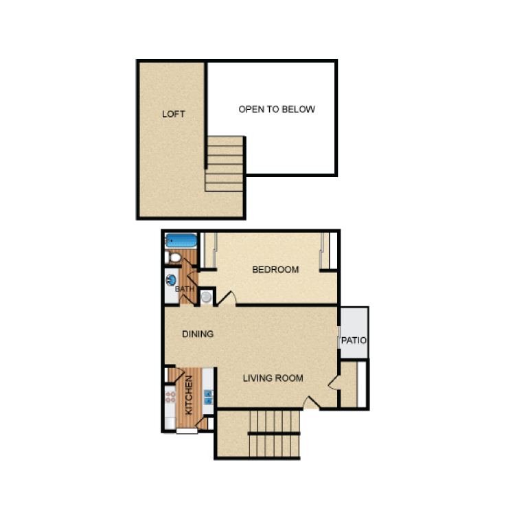 859 sq. ft. A5 floor plan