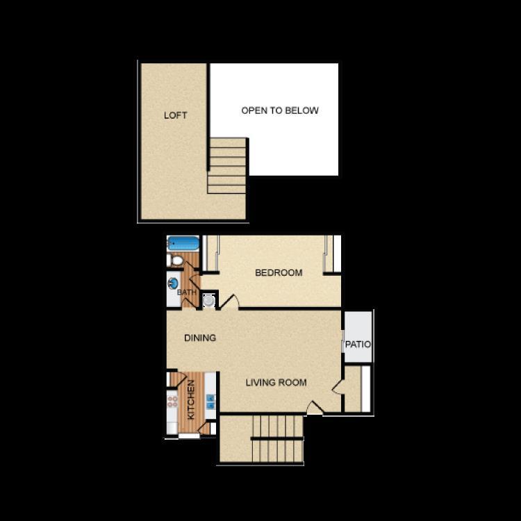 859 sq. ft. A5 floor plan