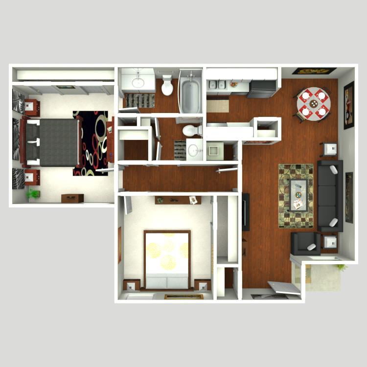 781 sq. ft. Strait floor plan