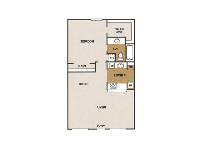 680 sq. ft. E floor plan