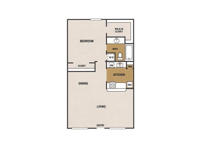 680 sq. ft. E floor plan