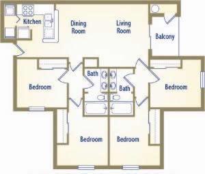 1,228 sq. ft. B1-I floor plan
