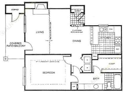 746 sq. ft. A3 floor plan