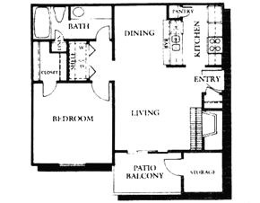 667 sq. ft. A1 floor plan