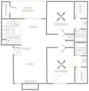 970 sq. ft. B4 floor plan