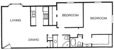 1,211 sq. ft. Sago floor plan