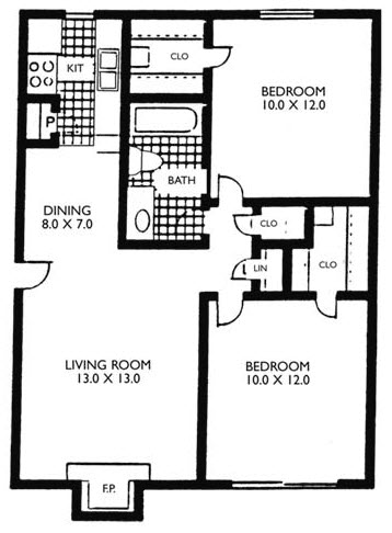 768 sq. ft. VP B1 floor plan