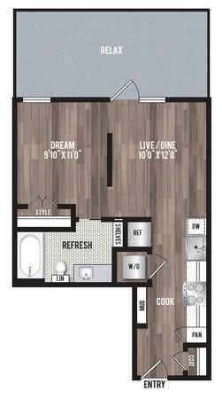 501 sq. ft. S1 floor plan