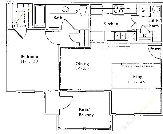 718 sq. ft. to 728 sq. ft. A2 floor plan