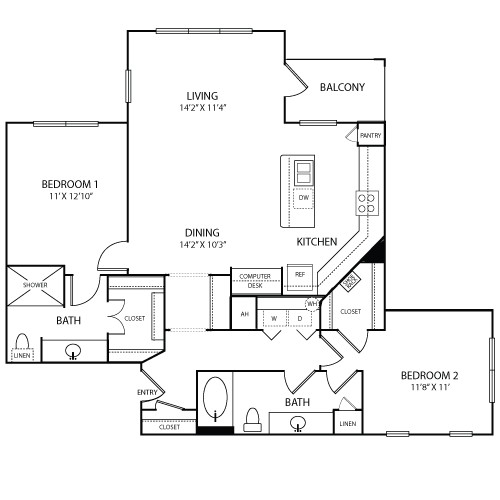 1,177 sq. ft. NICE floor plan