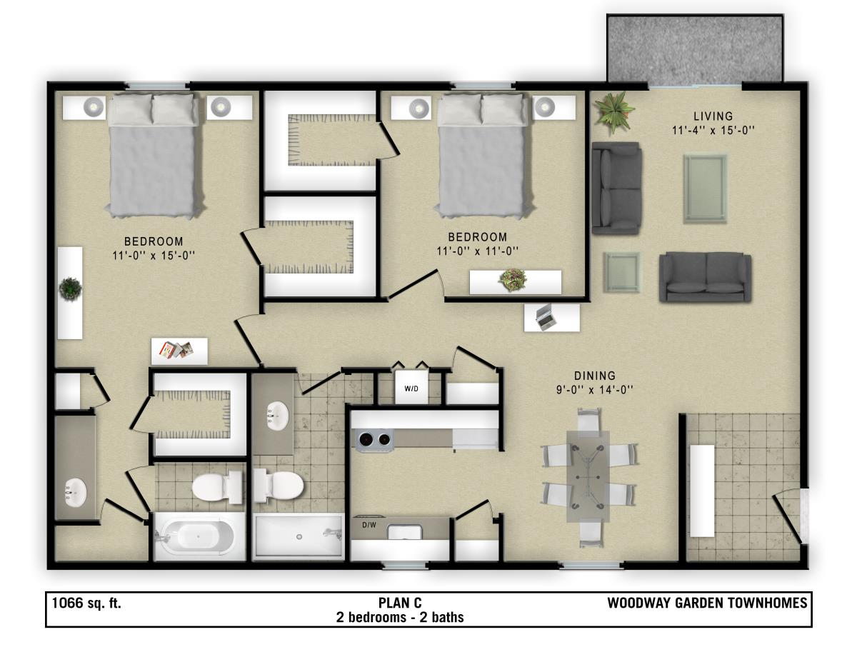 1,065 sq. ft. C floor plan