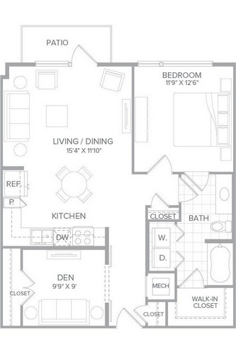 881 sq. ft. A3G floor plan