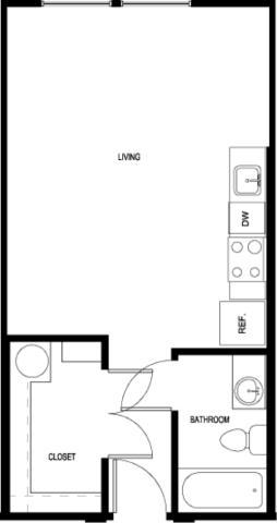 459 sq. ft. E2-II floor plan