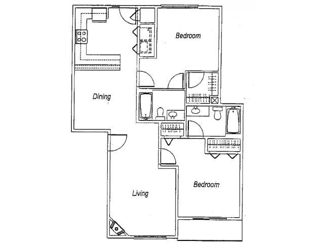 1,128 sq. ft. B4 floor plan