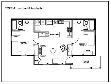 1,000 sq. ft. Type 4 floor plan