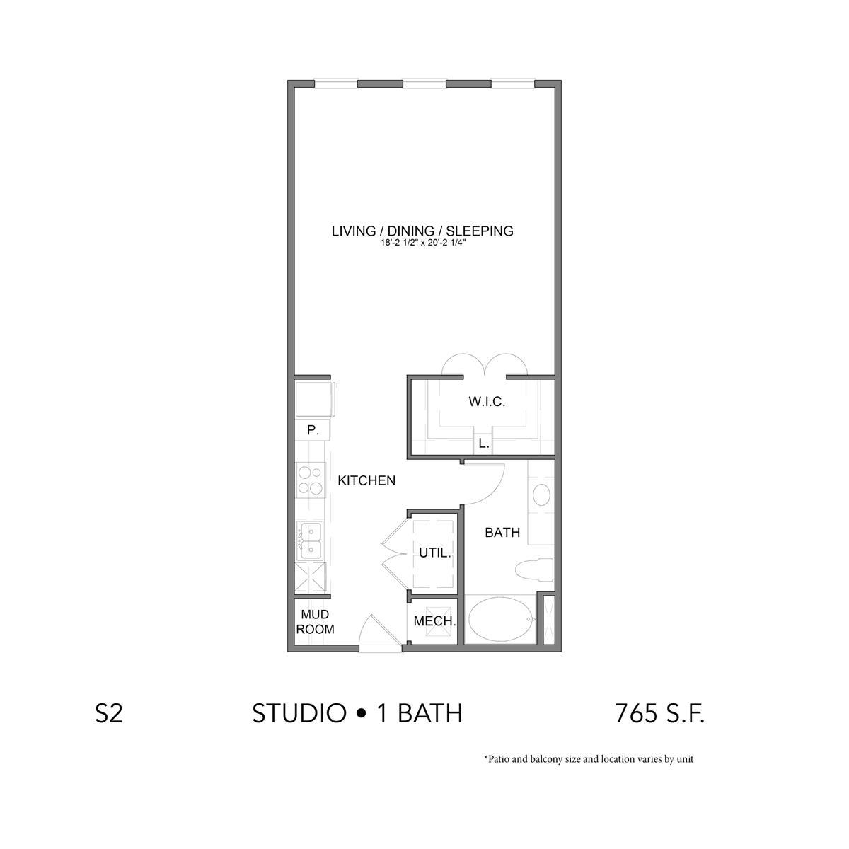 765 sq. ft. A10 floor plan