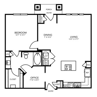911 sq. ft. A10 floor plan