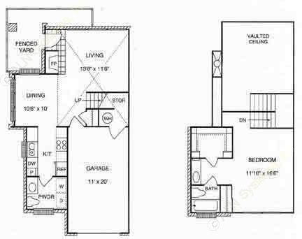 900 sq. ft. A2  w/Gar floor plan