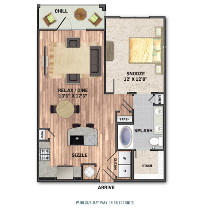 775 sq. ft. A2.1 floor plan