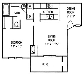 833 sq. ft. A4 floor plan