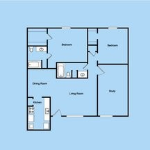 1,239 sq. ft. 2-2M floor plan