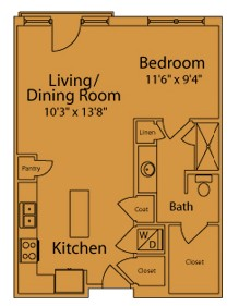 663 sq. ft. AA floor plan