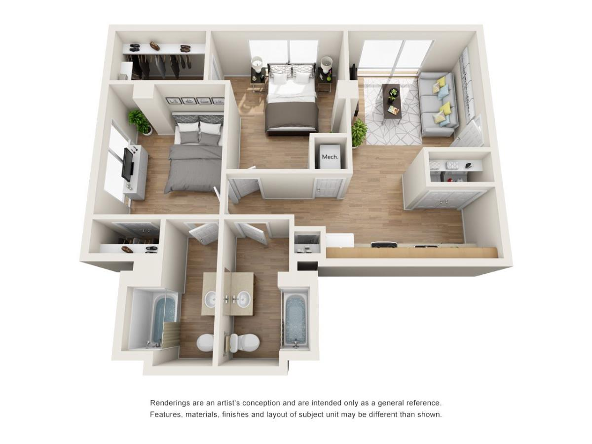 819 sq. ft. B3 floor plan