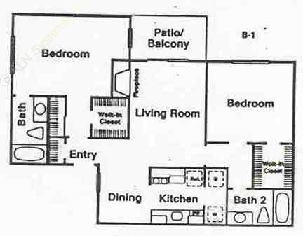 989 sq. ft. B-1 floor plan