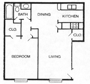676 sq. ft. B floor plan