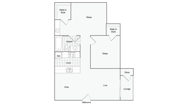 879 sq. ft. Windridge floor plan