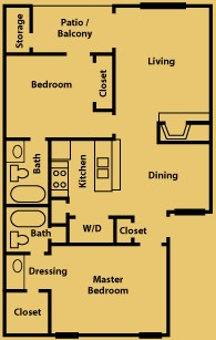 944 sq. ft. B1 floor plan