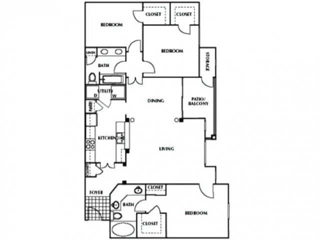 1,344 sq. ft. CG2 floor plan