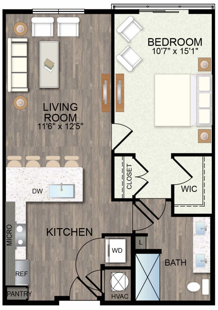 741 sq. ft. Lantana floor plan