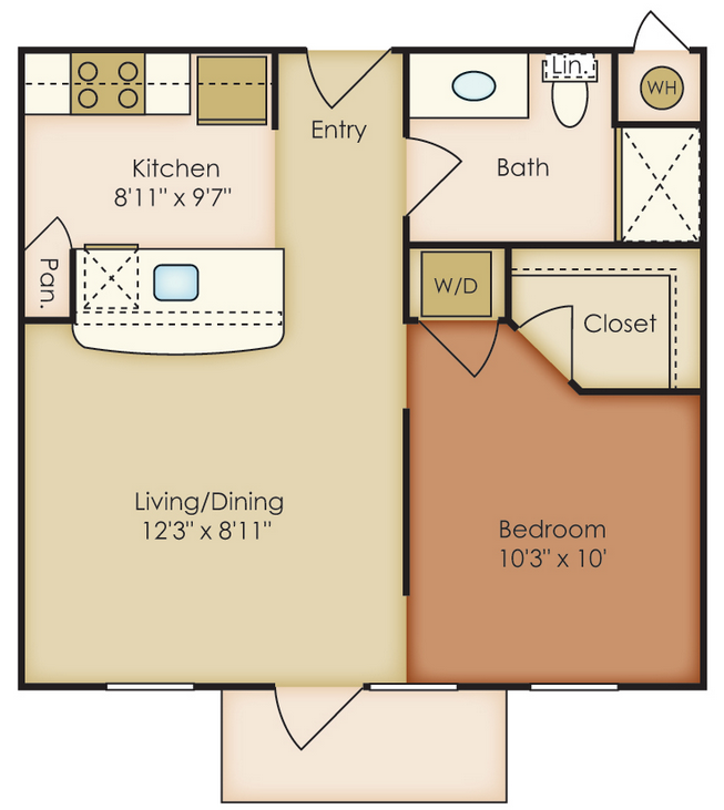 517 sq. ft. EI floor plan